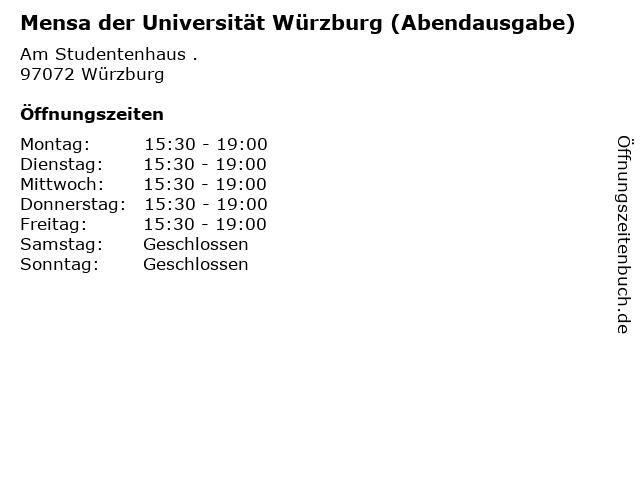 Mensa der Universität Würzburg (Abendausgabe) in Würzburg: Adresse und Öffnungszeiten