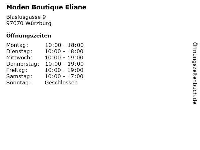 Moden Boutique Eliane in Würzburg: Adresse und Öffnungszeiten
