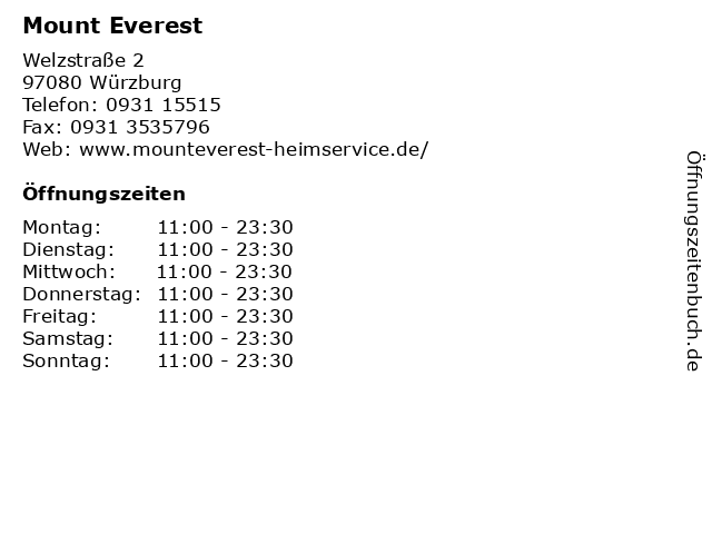 Mount Everest in Würzburg: Adresse und Öffnungszeiten