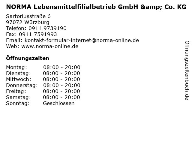 NORMA Lebensmittelfilialbetrieb GmbH & Co. KG in Würzburg: Adresse und Öffnungszeiten