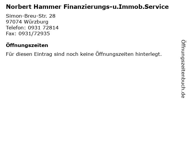 Norbert Hammer Finanzierungs-u.Immob.Service in Würzburg: Adresse und Öffnungszeiten