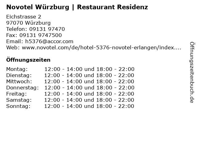 Novotel Würzburg   Restaurant Residenz in Würzburg: Adresse und Öffnungszeiten
