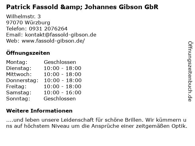 Patrick Fassold & Johannes Gibson GbR in Würzburg: Adresse und Öffnungszeiten