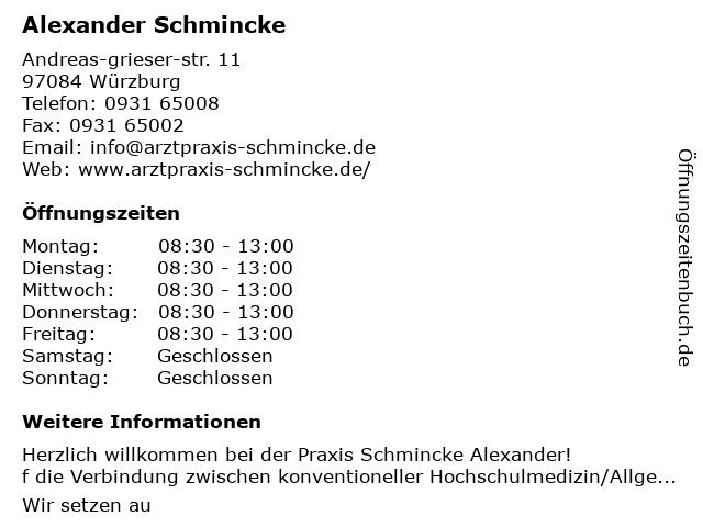 Praxis Schmincke Alexander in Würzburg: Adresse und Öffnungszeiten
