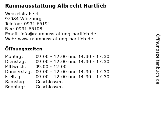 Raumausstattung Albrecht Hartlieb in Würzburg: Adresse und Öffnungszeiten