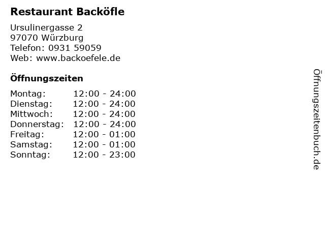 Restaurant Backöfle in Würzburg: Adresse und Öffnungszeiten