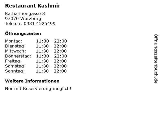 Restaurant Kashmir in Würzburg: Adresse und Öffnungszeiten