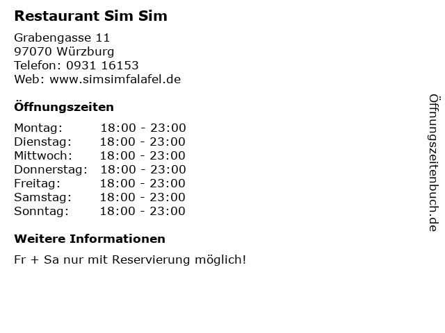 Restaurant Sim Sim in Würzburg: Adresse und Öffnungszeiten