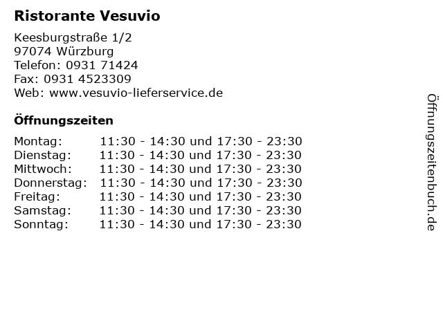 Ristorante Vesuvio in Würzburg: Adresse und Öffnungszeiten