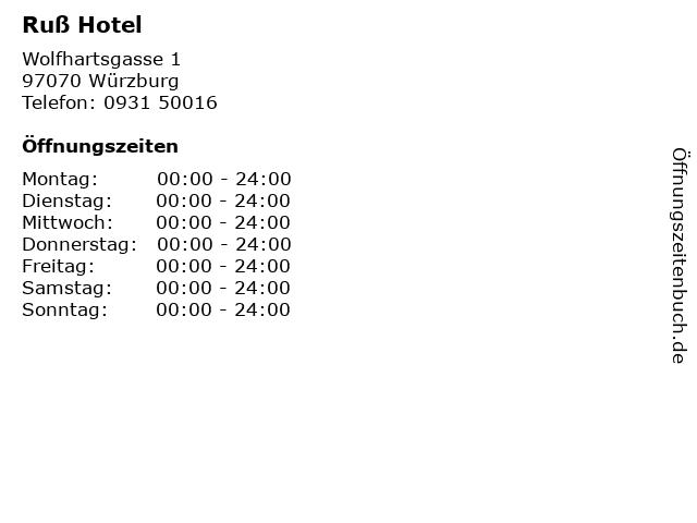 Ruß Hotel in Würzburg: Adresse und Öffnungszeiten