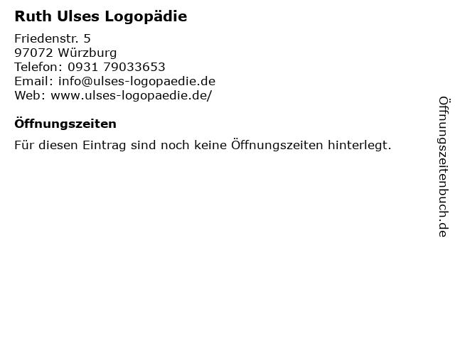 Ruth Ulses Logopädie in Würzburg: Adresse und Öffnungszeiten