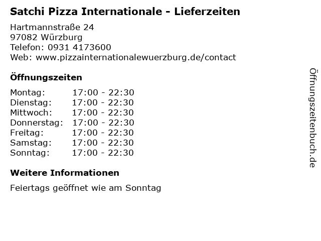 Satchi Pizza Internationale - Lieferzeiten in Würzburg: Adresse und Öffnungszeiten