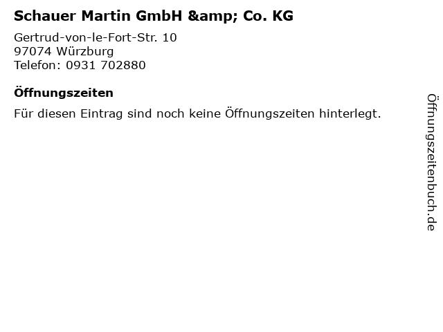 Schauer Martin GmbH & Co. KG in Würzburg: Adresse und Öffnungszeiten