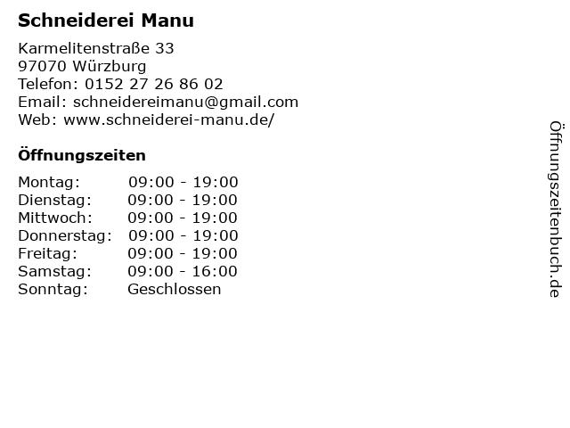 Schneiderei Manu in Würzburg: Adresse und Öffnungszeiten