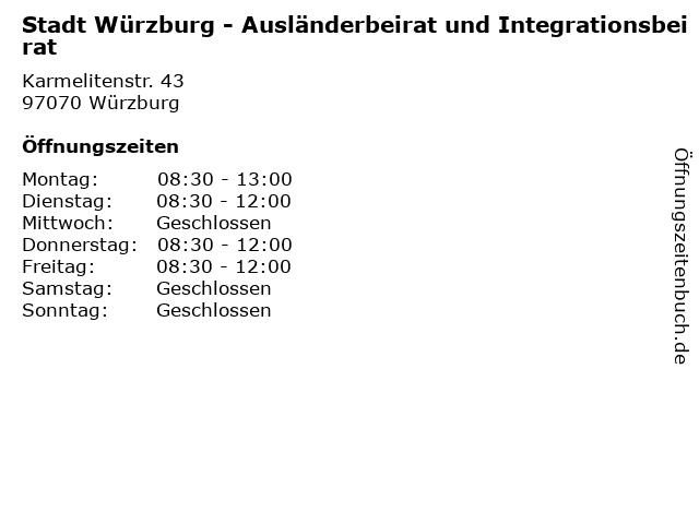 Stadt Würzburg - Ausländerbeirat und Integrationsbeirat in Würzburg: Adresse und Öffnungszeiten