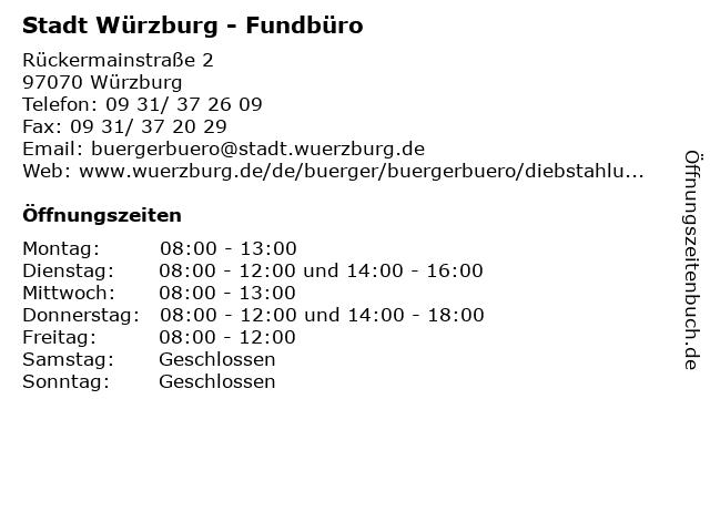 Stadt Würzburg - Fundbüro in Würzburg: Adresse und Öffnungszeiten
