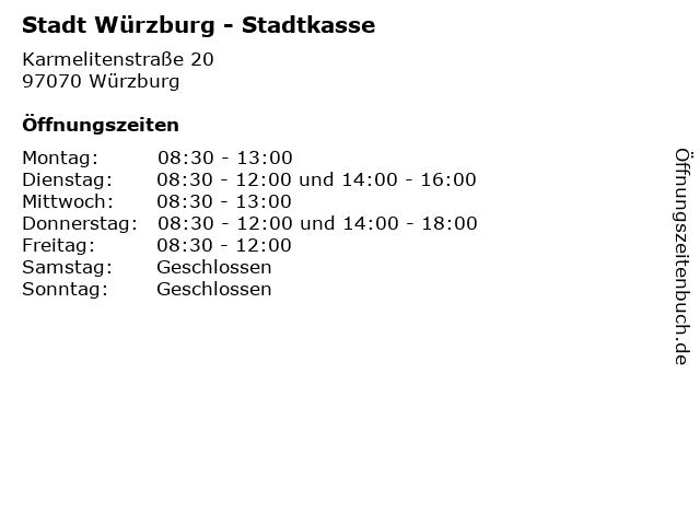 Stadt Würzburg - Stadtkasse in Würzburg: Adresse und Öffnungszeiten