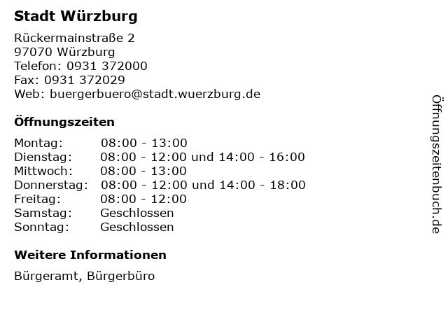 Stadt Würzburg in Würzburg: Adresse und Öffnungszeiten