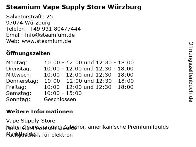 Steamium Vape Supply Store Würzburg in Würzburg: Adresse und Öffnungszeiten