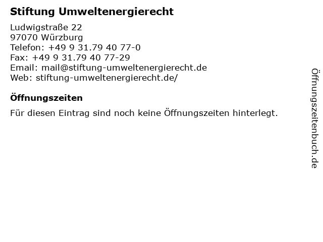 Stiftung Umweltenergierecht in Würzburg: Adresse und Öffnungszeiten