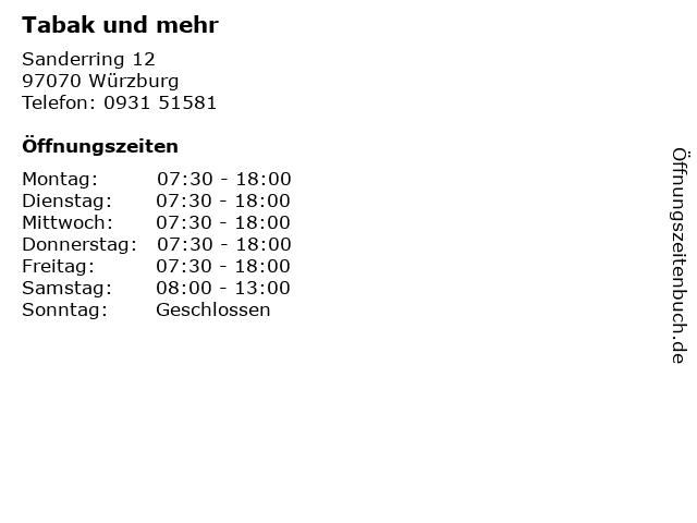 Tabak und mehr in Würzburg: Adresse und Öffnungszeiten