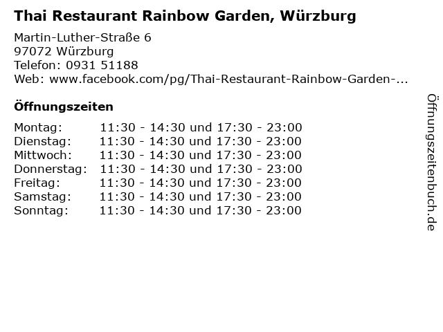 Thai Restaurant Rainbow Garden, Würzburg in Würzburg: Adresse und Öffnungszeiten