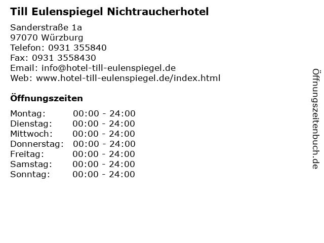 Till Eulenspiegel Nichtraucherhotel in Würzburg: Adresse und Öffnungszeiten