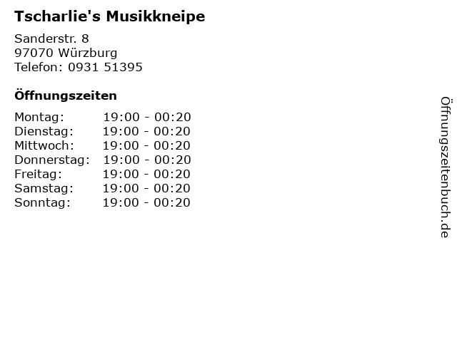 Tscharlie's Musikkneipe in Würzburg: Adresse und Öffnungszeiten