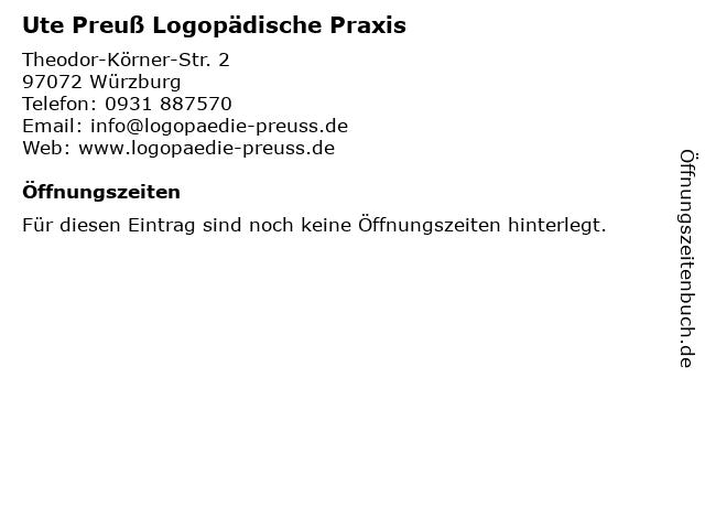 Ute Preuß Logopädische Praxis in Würzburg: Adresse und Öffnungszeiten