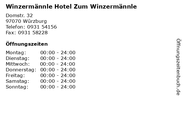 Winzermännle Hotel Zum Winzermännle in Würzburg: Adresse und Öffnungszeiten
