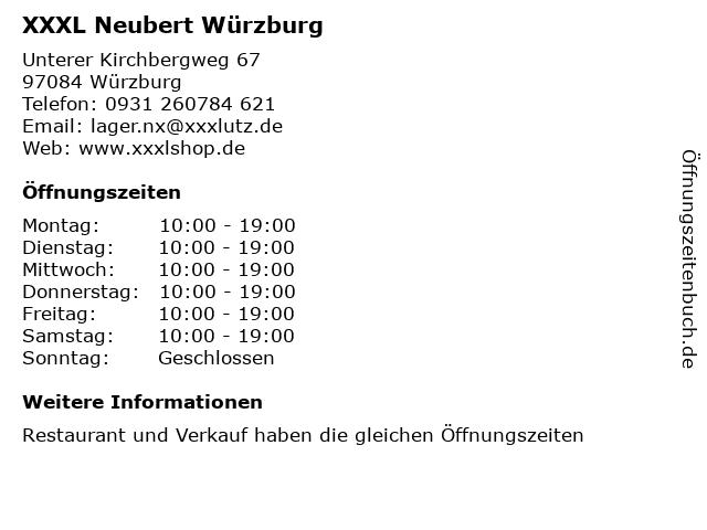 ᐅ öffnungszeiten Xxxl Neubert Würzburg Unterer Kirchbergweg 67