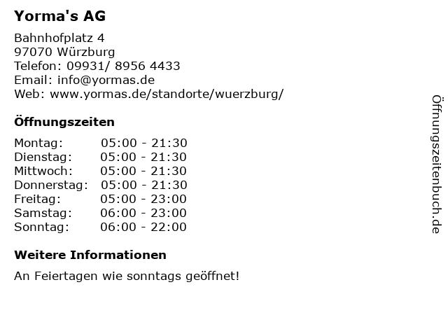 Yorma's AG in Würzburg: Adresse und Öffnungszeiten