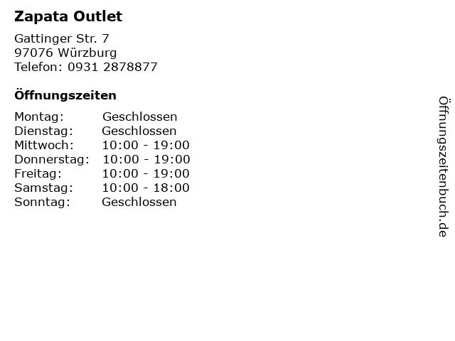Zapata Outlet in Würzburg: Adresse und Öffnungszeiten