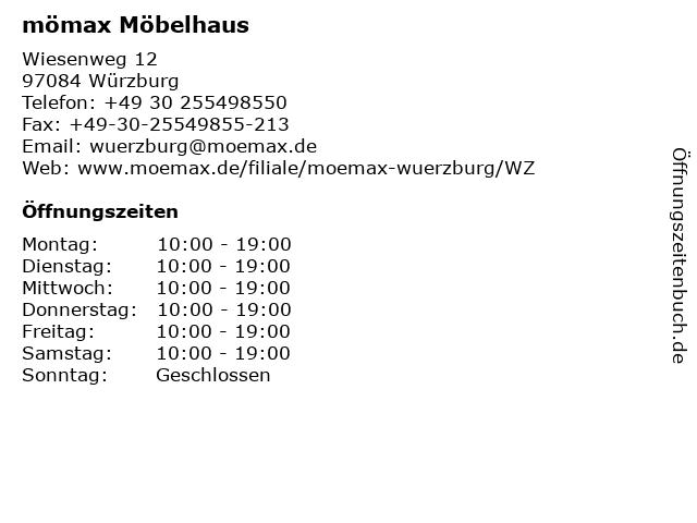 ᐅ öffnungszeiten Mömax Möbelhaus Würzburg Wiesenweg 12 In Würzburg