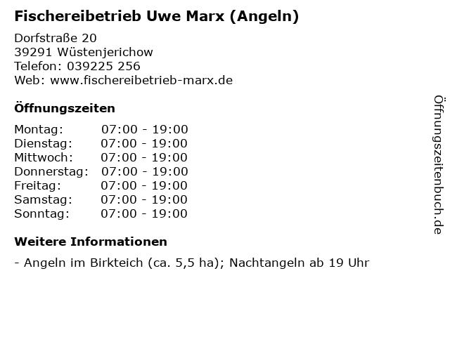 Fischereibetrieb Uwe Marx (Angeln) in Wüstenjerichow: Adresse und Öffnungszeiten