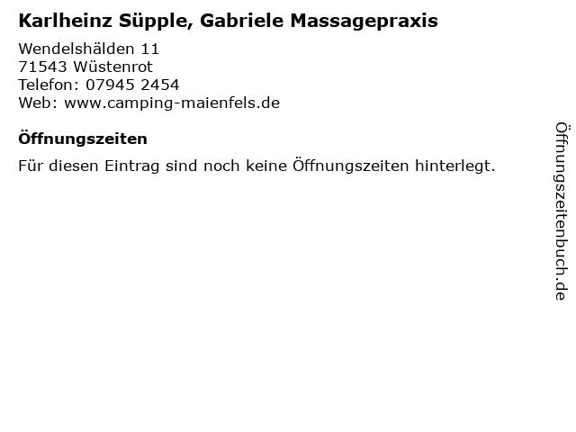 Karlheinz Süpple, Gabriele Massagepraxis in Wüstenrot: Adresse und Öffnungszeiten