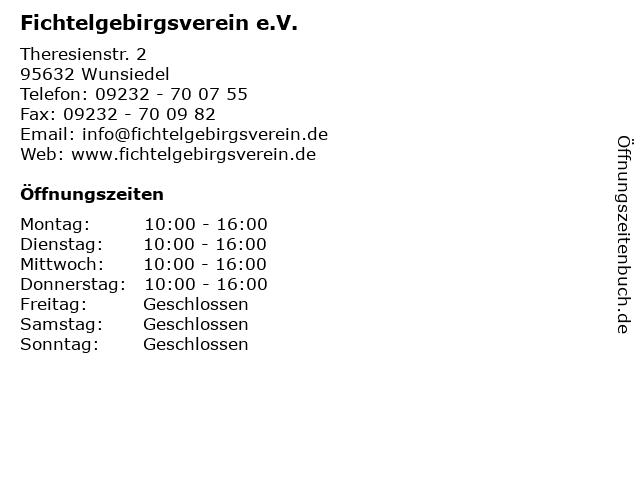 Fichtelgebirgsverein e.V. in Wunsiedel: Adresse und Öffnungszeiten