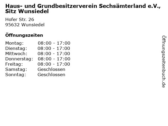 Haus- und Grundbesitzerverein Sechsämterland e.V., Sitz Wunsiedel in Wunsiedel: Adresse und Öffnungszeiten