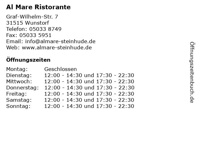 Al Mare Ristorante in Wunstorf: Adresse und Öffnungszeiten