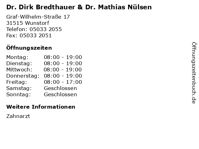 Dr. Dirk Bredthauer & Dr. Mathias Nülsen in Wunstorf: Adresse und Öffnungszeiten
