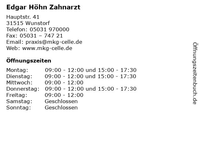 Edgar Höhn Zahnarzt in Wunstorf: Adresse und Öffnungszeiten