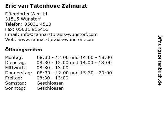 Eric van Tatenhove Zahnarzt in Wunstorf: Adresse und Öffnungszeiten
