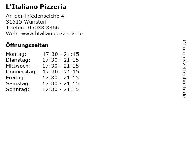 L'Italiano Pizzeria in Wunstorf: Adresse und Öffnungszeiten