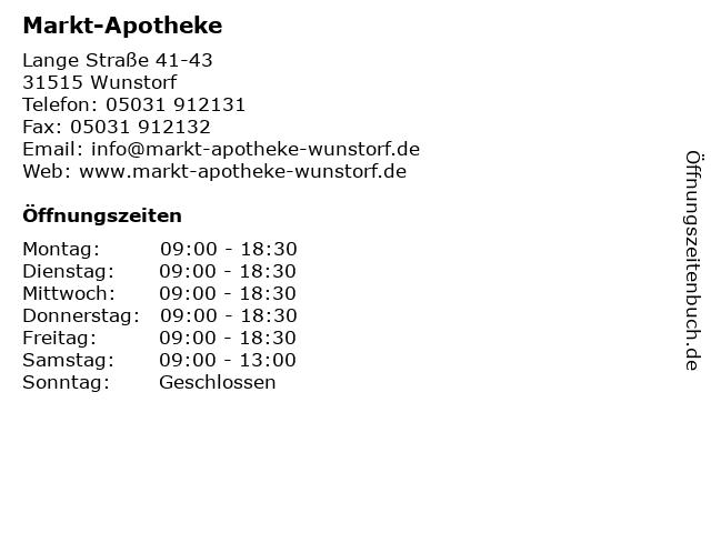 Markt-Apotheke in Wunstorf: Adresse und Öffnungszeiten