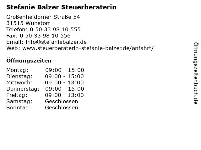 Stefanie Balzer Steuerberaterin in Wunstorf: Adresse und Öffnungszeiten