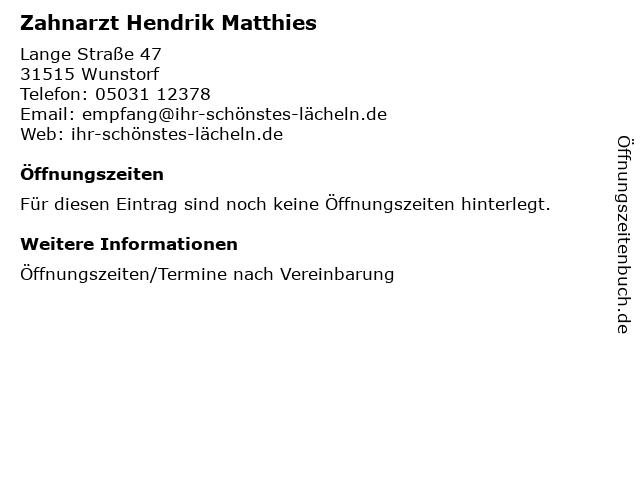 Zahnarzt Hendrik Matthies in Wunstorf: Adresse und Öffnungszeiten