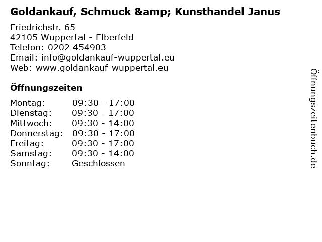 Goldankauf, Schmuck & Kunsthandel Janus in Wuppertal - Elberfeld: Adresse und Öffnungszeiten