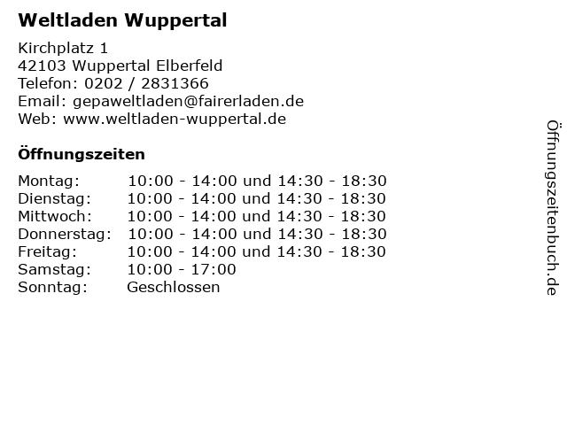 Weltladen Wuppertal in Wuppertal Elberfeld: Adresse und Öffnungszeiten