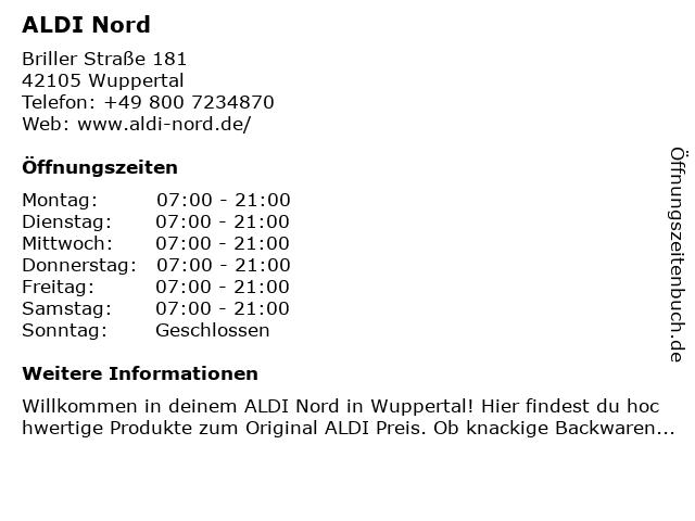 ALDI Nord in Wuppertal: Adresse und Öffnungszeiten