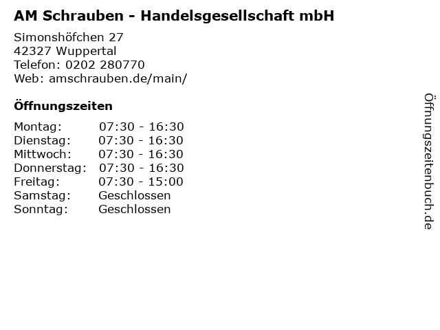 AM Schrauben - Handelsgesellschaft mbH in Wuppertal: Adresse und Öffnungszeiten